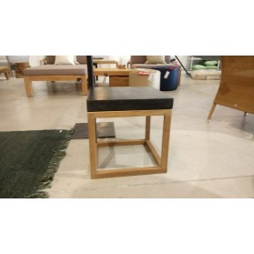 Cubic coffee table Teak Frame Black Terrazo Top