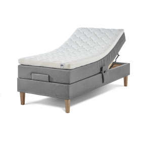 Lama Premium elevation bed medium hardness incl. Ergo+ 65mm latex top mattress & conical 4 edges untreated or oiled oak