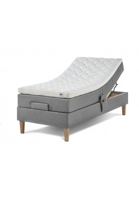 Lama Premium elevation bed incl. Ergo+ 65mm latex top mattress & conical 4 edges untreated or oiled oak
