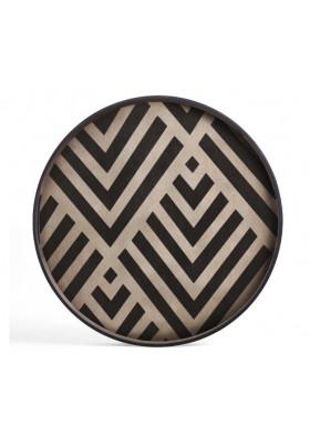 Ethnicraft Graphite Chevron wooden tray