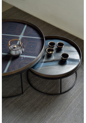 Ethnicraft Slate Linear Squares glass tray